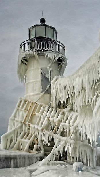 frozen lighthouse, michigan                                                                                                                                                                                 More