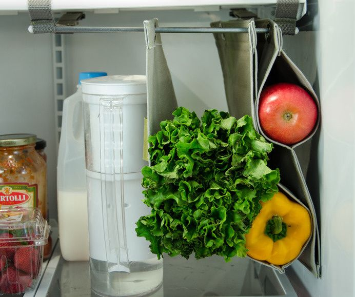 Fabrack Is An Expandable, Hanging Storage Solution For The Refrigerator,  That Prevents Food From