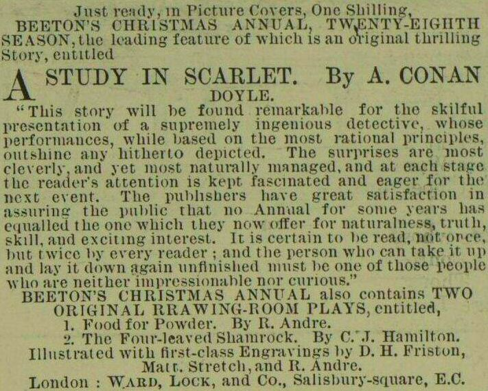 Reception of A Study in Scarlet by Sir Arthur Conan Doyle | Illustrated London News, 26 November 1887 (scheduled via http://www.tailwindapp.com?utm_source=pinterest&utm_medium=twpin&utm_content=post175959131&utm_campaign=scheduler_attribution)