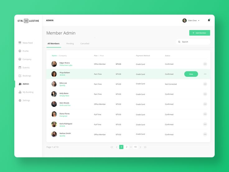 Dashboards are no joke! We have been working on developing an admin panel for our co-working space, CTRL Collective. This page allows admins to manage all members.  Check out the attached full vers...