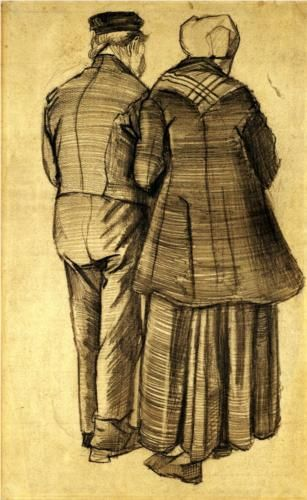 Vincent Van Gogh: Man and Woman Seen from the Back.  Drawing.  The Hague: September-December, 1882.  Amsterdam, Van Gogh Museum.