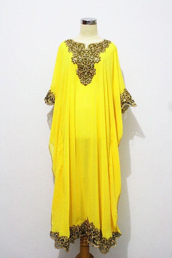 Gold Peanut Embroidery Caftan Dubai Abaya Maxi Dress - Yellow Chiffon For Women