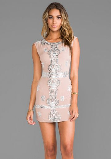 renzo   kai Laura Sequin Dress in Blush/Silver