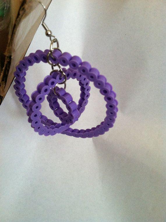 Hoop Earrings: Perler Beads