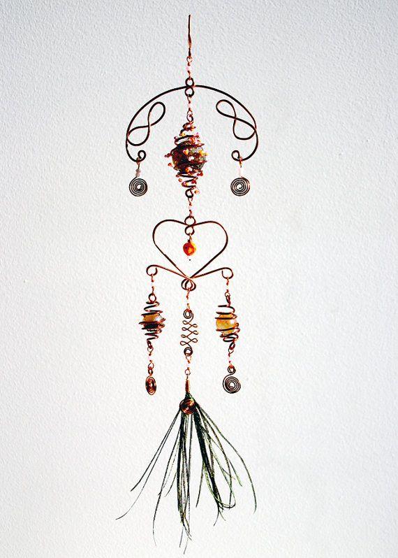 Hanging Mobile Heart Shaped Beaded Suncatcher by karensanders
