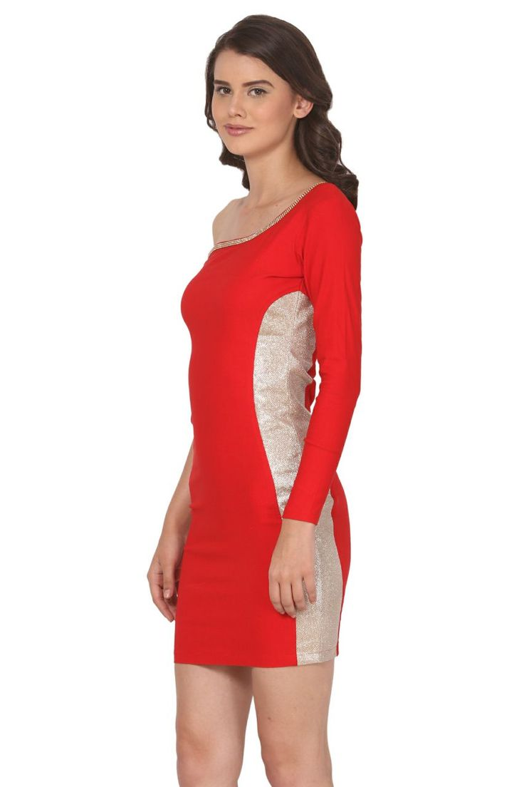 Red one sided sleeves and shimmer one piece