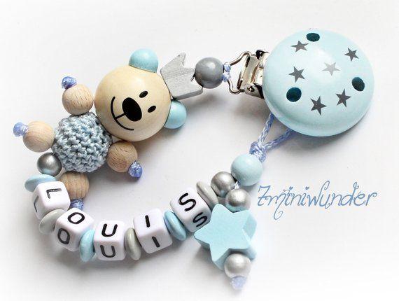 Schnullerkette mit Namen Junge ★ Prinz Stern-Clip grau blau Geburt Babygeschenk