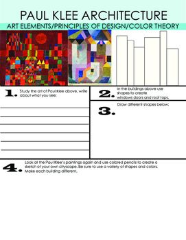 This lesson explores the art of Paul Klee, it includes an instruction sheet and brainstorming practice. A template is included for Pre-K students. Once this lesson is completed the students will be ready to complete a final piece.