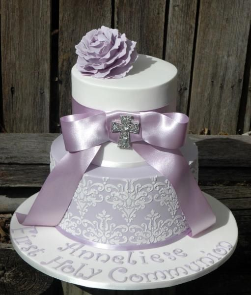 Holy Confirmation Cake | ... First Holy Communion Cake, Lilac Christening Cake, Lilac Wedding Cake