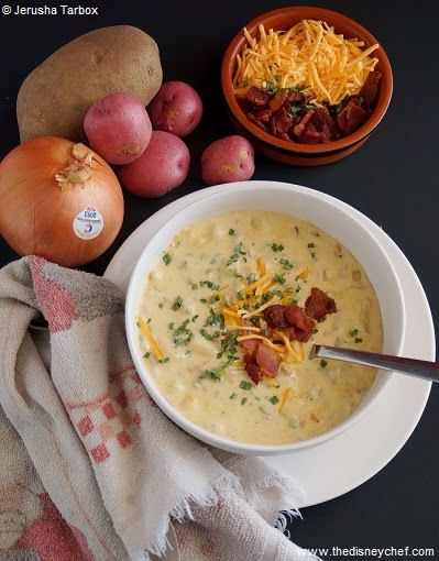Recipe for loaded baked potato soup from Carnation Cafe at Disneyland.
