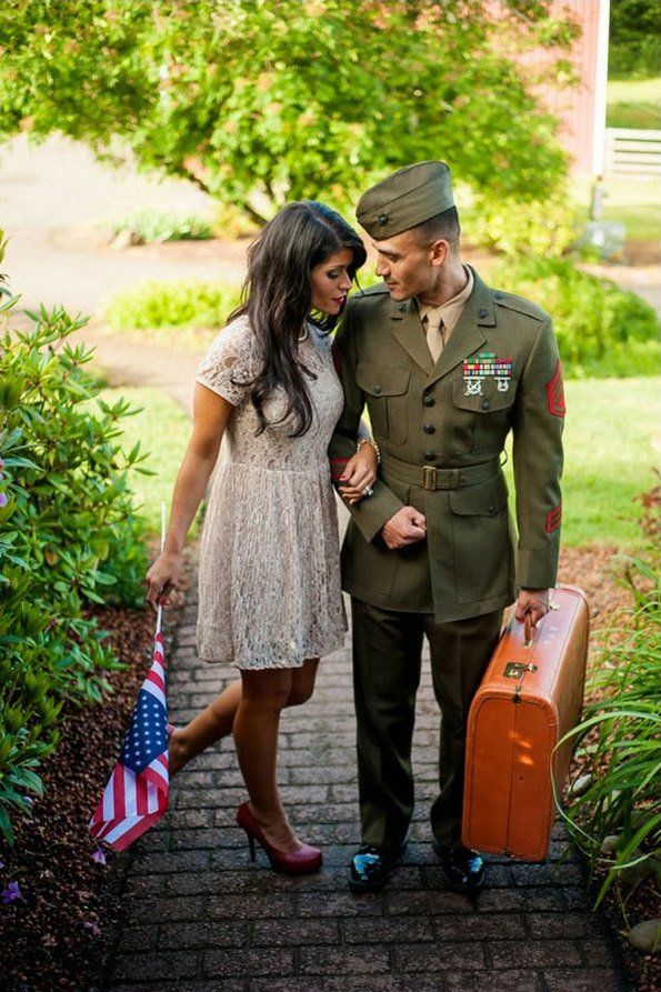vintage military e-session with soldier and woman in lace dress @myweddingdotcom