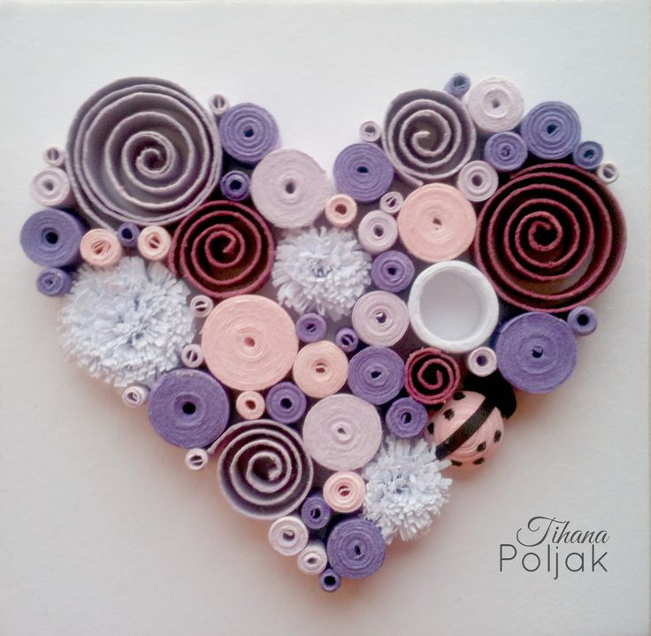 Quilled heart, quilling purple rose heart, love quilling, quilled Ladybug…