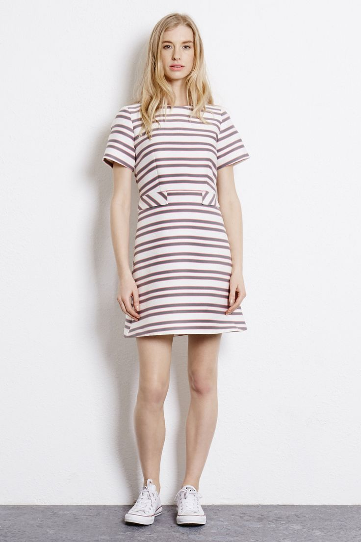 Dresses | Cream STRIPED TAILORED DRESS | Warehouse