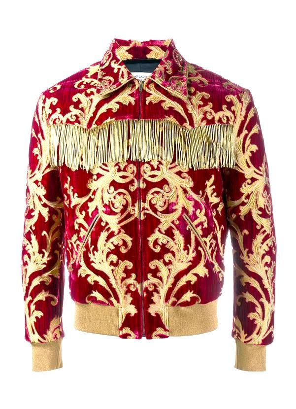 Saint Laurent Men's Fringed Lurex & Brocade Teddy Jacket