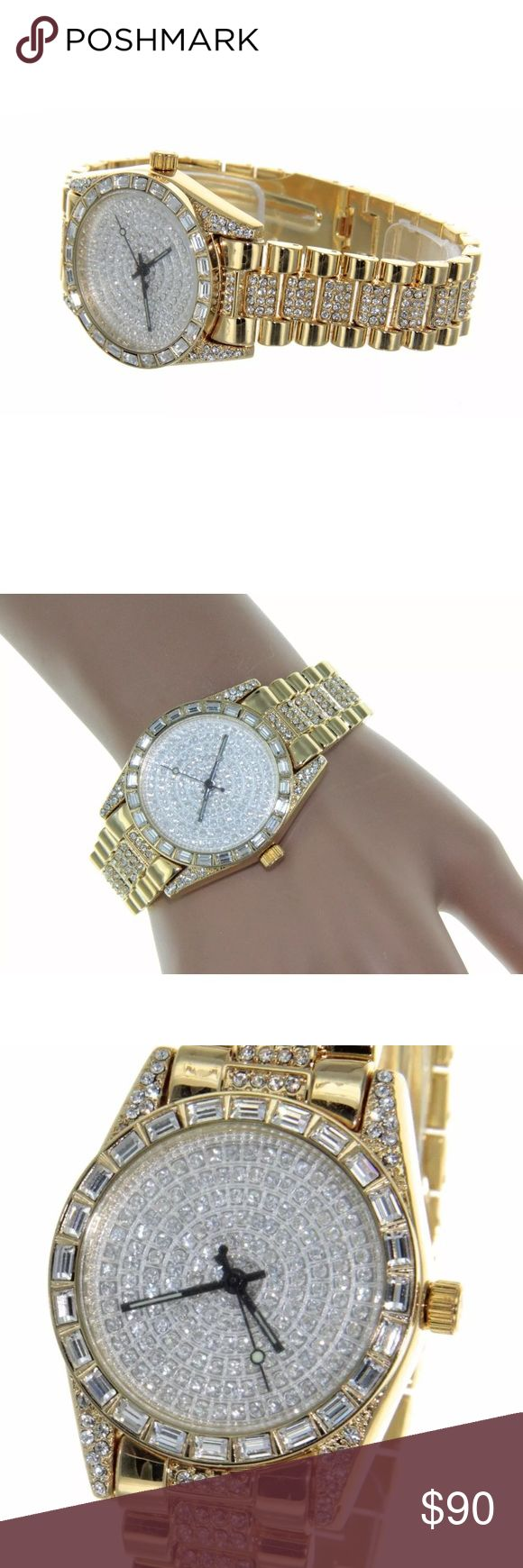 """NEW Womens Luxury Watch Iced Out Crystal 10K Gold Women's Luxury Gold Watch Iced Out - Brand New  14K Gold Bezel  Fully Iced out Bezel, Band & Dial    Description:           * Case size is approximately 1-3/8"""" in Diameter           * Case size is approximately 1/4"""" Thick           * High quality movement           * It will fit up 8"""" Wrist           * Stainless steel back - 14K Gold Finish            * Made by Geneva            * HG-31 Accessories Watches"""