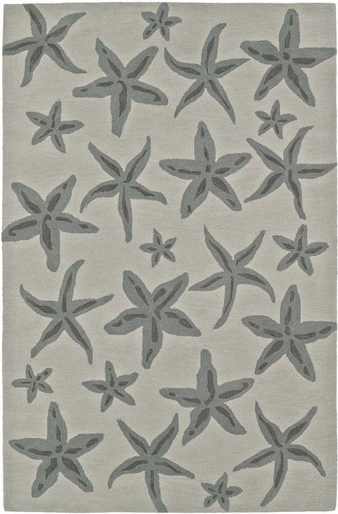 Take a trip to the shore with this elegant Seaside Starfish Rug, splashed with varying sizes of starfish in shades of grey against a linen toned background.
