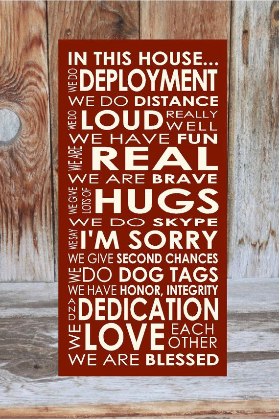 Elegant DEPLOYMENT In This House Military, Patriotic HOME ....wood Home Decor Board