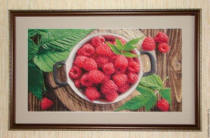 """Купить Вышитая картина """"Малинка"""" - Вышитая картина, вышитая картина крестом, натюрморт, ягоды, малина"""