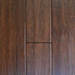 """Millstead Handscraped Hickory cocoa 1/2"""" x 5"""" engineered wood flooring, $5.78sq.ft., home depot"""