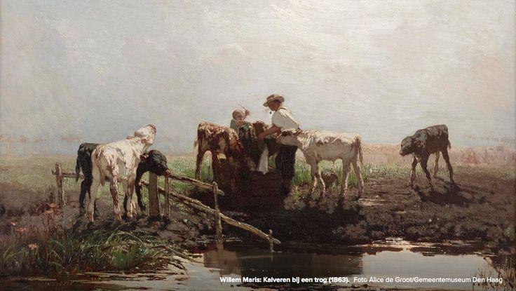 Kalveren aan een trog - 1863   Work by Dutch painter Willem Maris (1844-1910)