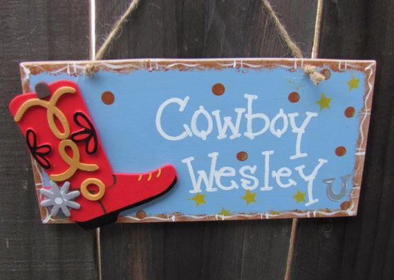 COWBOY door sign kids room decor Western Boot by EvansCraftHut, $7.95
