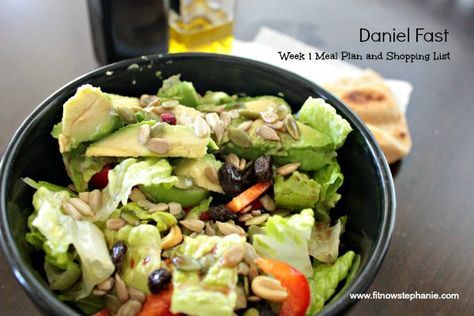 Here is a one week meal plan and shopping list for a Daniel Fast. Fruits, vegetables, whole grains, nuts and seeds. Daniel Fast recipe links included.
