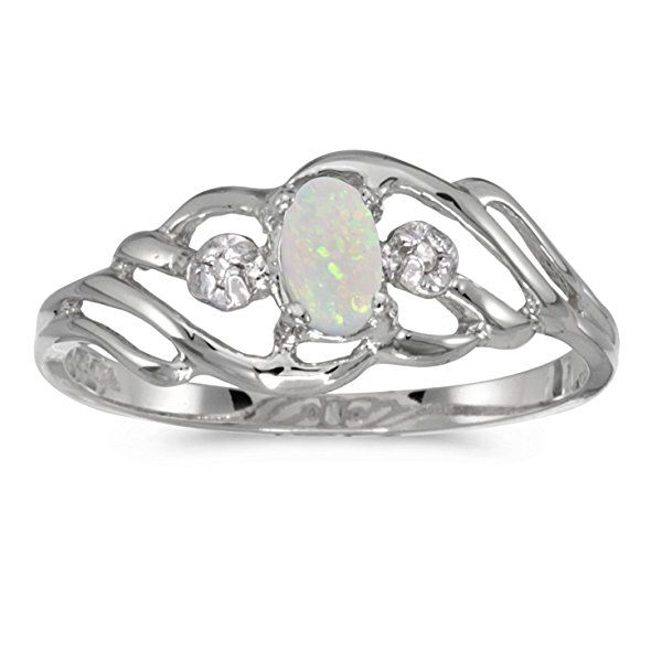 10k White Gold Oval Opal And Diamond Ring (Size 5)