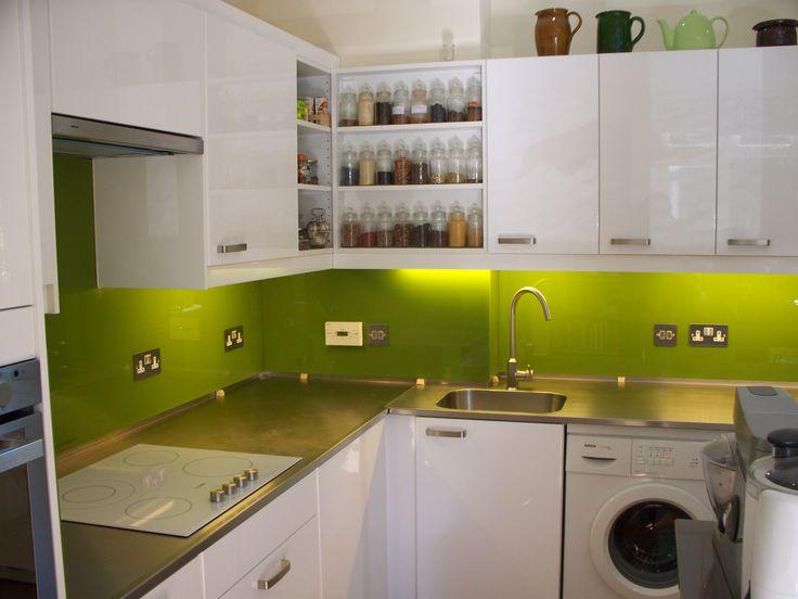Lime green glass splashback london my place pinterest for Lime green kitchen ideas