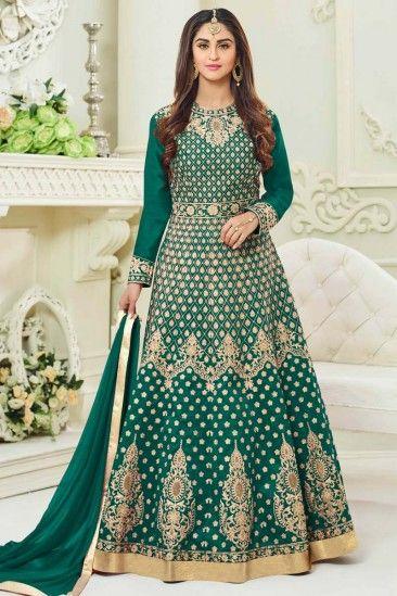Green Floor Length Taffeta Silk Anarkali Churidar Suit With Dupatta - DMV15256