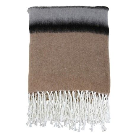 NEW SEASON ARRIVAL. Striped wool acrylic blanket. Soft yet durable. A perfect colour combination of subtle grey, brown and black. A fab addition to your living room or bedroom.