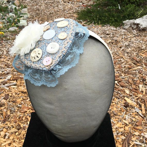 Blue and White Fascinator OOAK Mini Hat Cocktail Hat