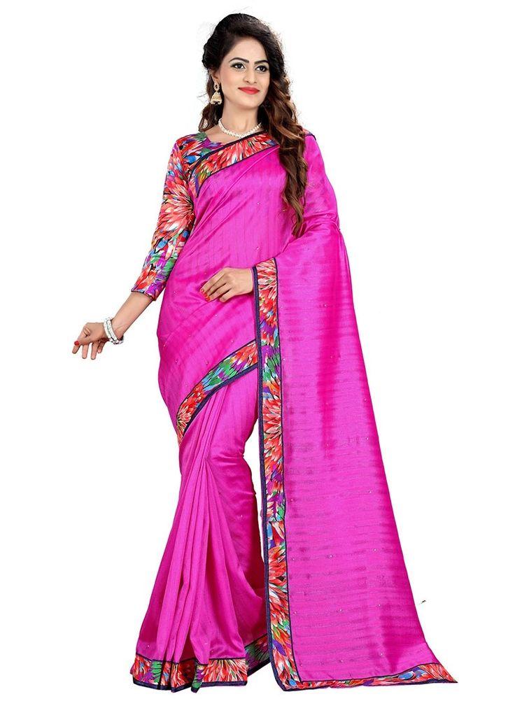 Shop Online Magenta Bhagalpuri Silk #CasualSarees @Chennaistore.com