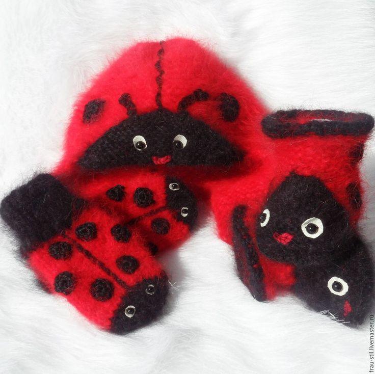 Купить Варежки вязаные детские Frau Stil пуховые варежки детские - ярко-красный