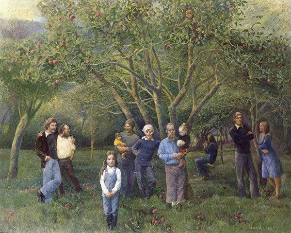 """The Brotherhood of Ruralists at Coombe by Ann Arnold (1977). The """"Coombe"""" of the title refers to the Coombe Valley in Cornwall. From left to right: David Inshaw, Graham Ovenden, Juliette Liberty Blake (young girl), Annie Ovenden holding Emily Ovenden, Jann Haworth, Peter Blake holding Daisy Blake, Edmund Ovenden (in tree), Friend of David Inshaw (on swing), Graham Arnold, Ann Arnold."""