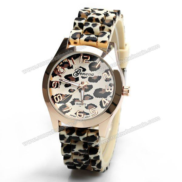 Wholesale Geneva Watch with 12 Numbers Indicate Round Dial Rubber Band for Women - Golden (GOLDEN), Women's Watches - Rosewholesale.com