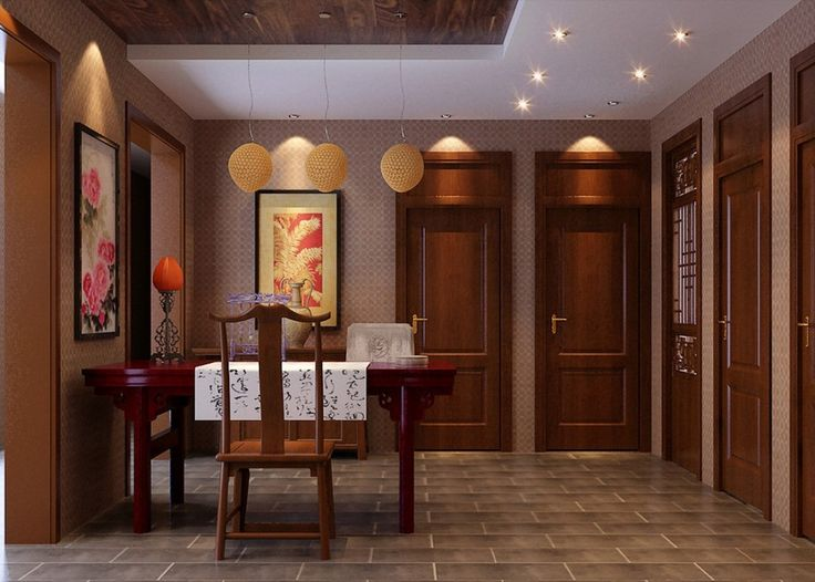 Подчеркнуть китайский стиль в интерьере могут предметы декора:    часы с китайскими иероглифами, китайской живописью;     комоды и сундуки;     картины с китайской каллиграфией (иероглифами) или с изображением животных фэн-шуй: драконов, цветов, птиц, гор, водопадов.