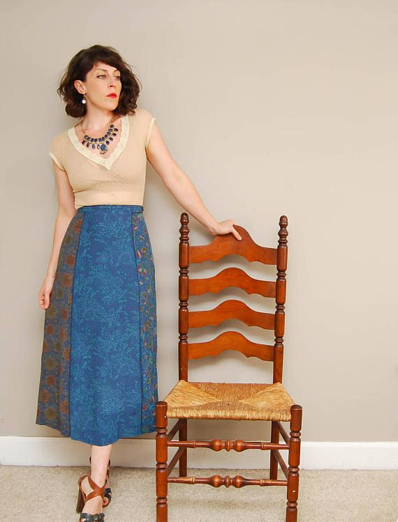 Vintage 90s Blue Floral Print Midi Gap Skirt - Frenchie Vintage