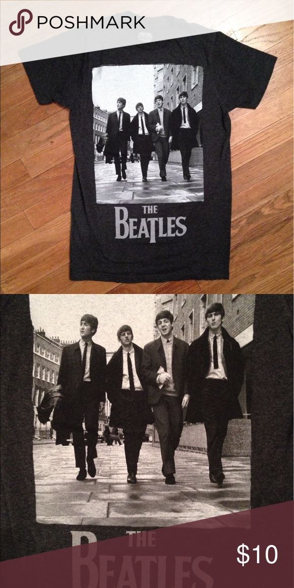 The Beatles Tee Dark gray tee with The Beatles' album cover. Adult size S. Tops Tees - Short Sleeve