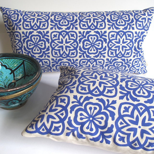 Moroccan Tile Screen Printed Cushions