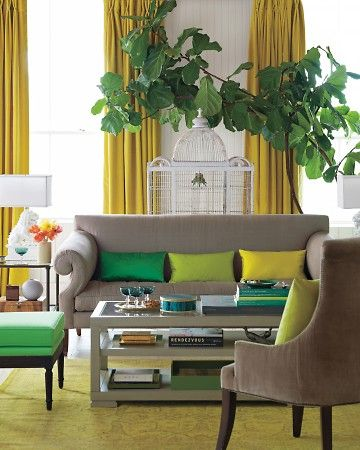 Living in Color; chartreuse, kelly green, and mustard all on a neutral background.: Interior, Sofa, Color Blocking, Living Rooms, Colors, Livingroom, Bolster Pillow, Green Pillows