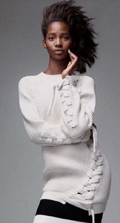 Tami Williams by Craig McDean for Vogue US April 2015 | Victoria Beckham lace-up knit