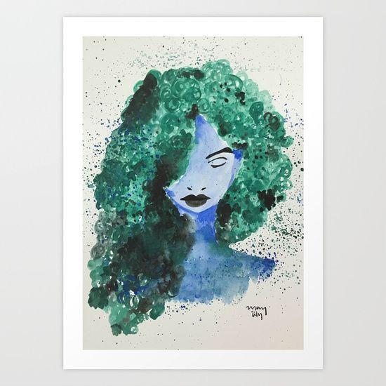 girl, green hair, blue, avatar...