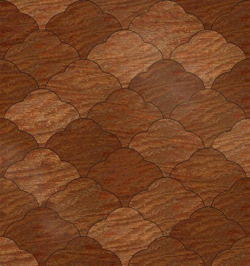 SCALLOPED wood flooring parquet pattern. #parquet #parquetry #pattern #woodtile #woodfloor #wood #woodworking #woodfloordesign #inlay #intarsia #interiordesign #art #design #floor #functionalart #hardwoodfloor #inlaid #marquetry #mixedmedia  #woodinlay #floordesign