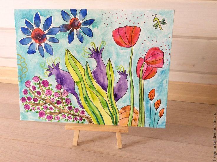Купить Прекрасный сад - акварель, акварельная картина, акварельные краски, холст-картон, холст на картоне