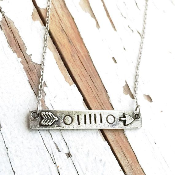 Hand Stamped jeep girl grill grille pewter necklace wanderlust wanderer vagabond gypsy jeep hair dont care arrow travel #itsajeepthing