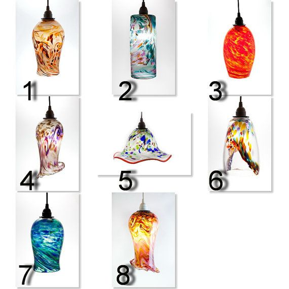 Custom Hand Blown Glass Pendant Light choose your own colors by Glassometry Studios, $350.00