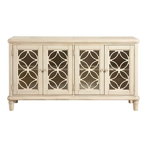 Bassett 6a14 W866 Door Console Antique White With Seeded
