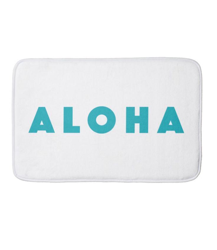 Aloha Text Teal Bath Mat Summer by JunkyDotCom - Trendy teal turquoise simple text Aloha from Hawaii