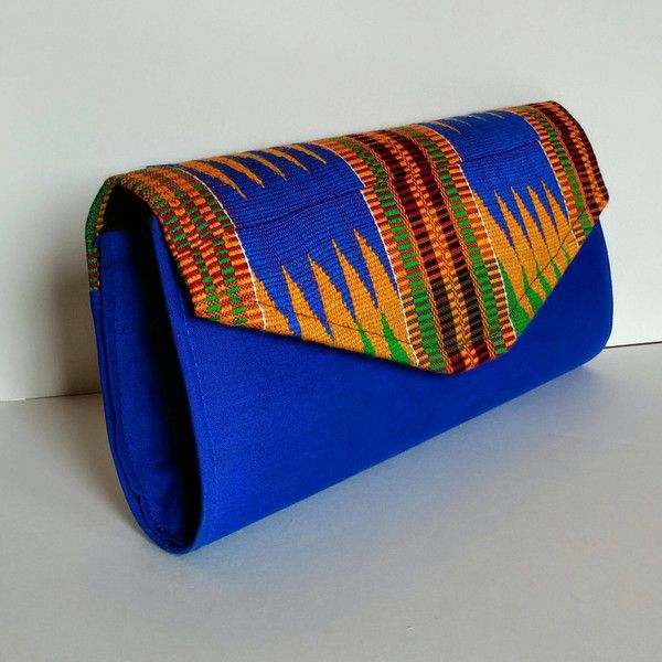 African Kente Cloth Clutch Handbag, Blue Bag with Multicolored Kente... ($35) ❤ liked on Polyvore featuring bags, handbags, clutches, colorful handbags, multi colored handbags, colorful clutches, multicolor handbags and chain handbags