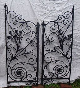 Pair of antique hand-wrought iron garden gates